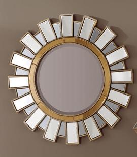 Espejo redondo con marco de trozos de espejo for Espejo redondo marco madera