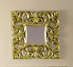 Espejo dorado de poliresina for Espejo marco dorado