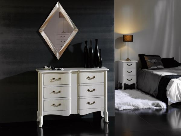 C moda vintage blanca con cajones c modas y sinfoniers - Comoda blanca lacada ...