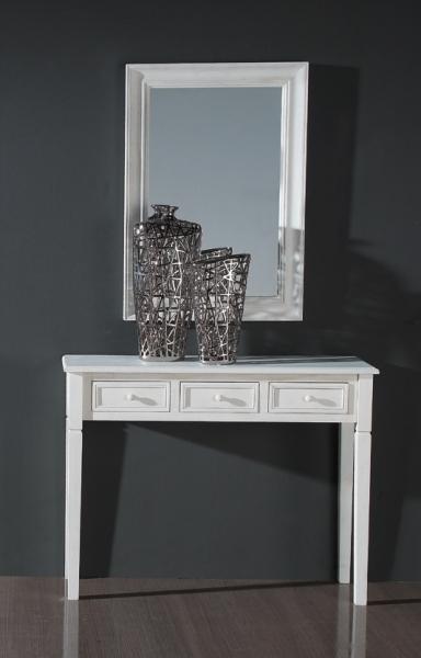 Recibidor y espejo blanco consolas y entradas muebles de for Espejo recibidor blanco