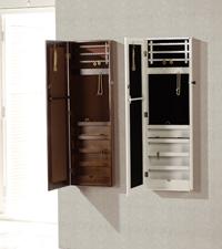 Joyero-espejo vestidor de pared - Mueble fabricado en madera y lacado en blanco y nogal.
