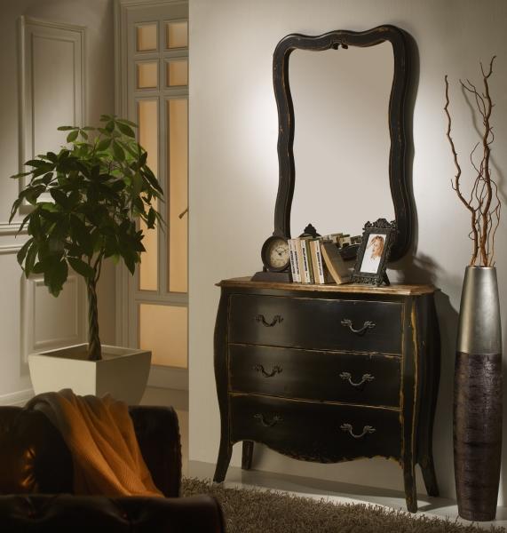 Recibidor vintage negro con cajones y espejo c modas y - Muebles tipo vintage ...