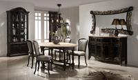 Mesa de comedor desplegable - Mesa de comedor fabricada en madera de haya. El sobre esta fabricado con madera de roble viejo sin barnizar. En esta mesa se pueden plegar una o las dos alas.