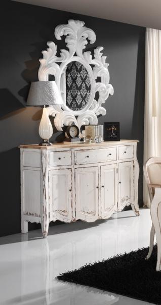 mueble fabricado en madera de haya y lacado en blanco roto el sobre esta realizado en madera de roble viejo y sin barnizar dimensiones xxcm