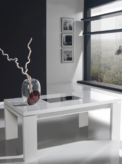 Mesa de centro elevable con puffs - Mesas bajas de salon ...