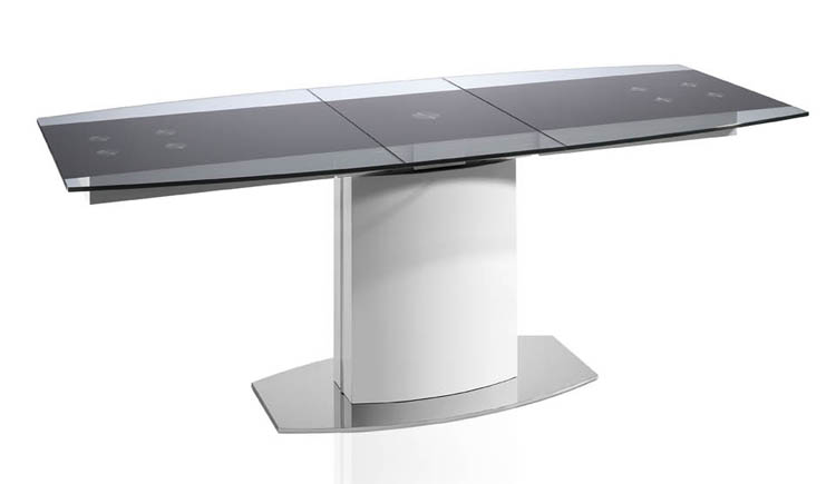 Mesa de comedor extensible en cristal templado for Mesa cristal ovalada extensible