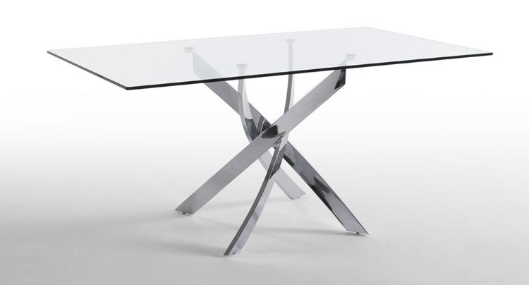 Mesa comedor patas de acero cromado for Mesa de vidrio rectangular