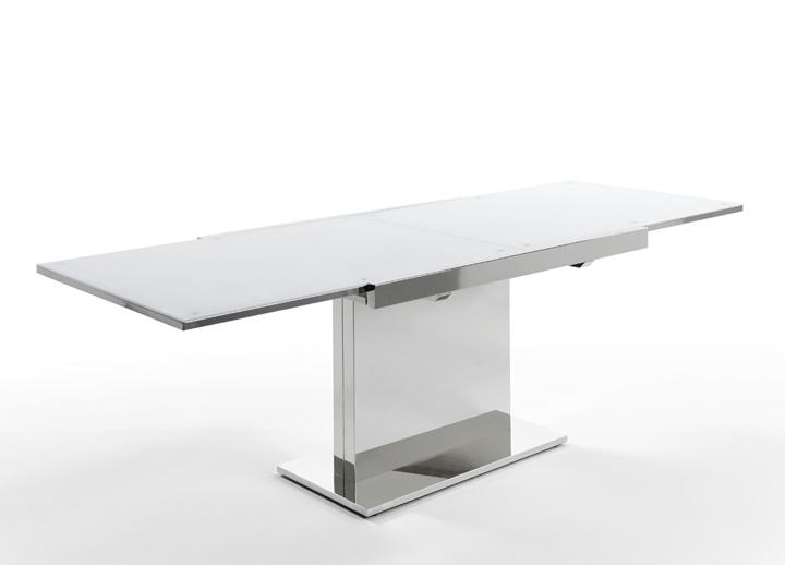 Mesa comedor extensible base en acero cromado for Mesa comedor pata central