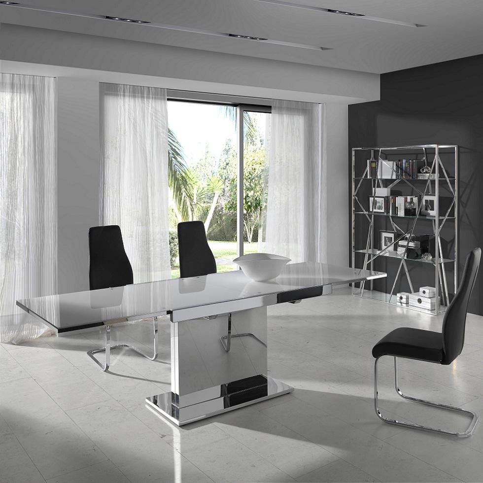 Mesa comedor extensible base en acero cromado - Mesas comedor cristal ...