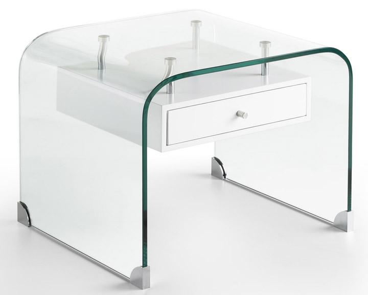 Mesa de noche en cristal templado curvado con caj n lacado - Mesas escritorio de cristal ...