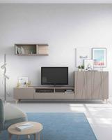Moderno mueble de TV propuesta 38 - Moderno mueble de TV propuesta 38, fabricadas en DM y chapado en melamina con efecto natural o en terminaciones lacadas