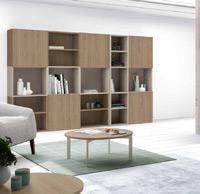 Moderno Librero para Salon - Moderno Librero para Salon, fabricado en DM y chapado en melamina con efecto natural o en terminaciones lacadas