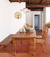 Mesa de comedor rect. o silla o banco Chateaux en madera rustica - Mesa rectangular de comedor o silla o banco Chateaux en madera rustica