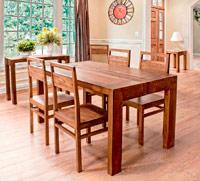 Mesa de comedor o silla Jamila en madera con acabado natural - Mesa de Comedor o sillas Jamila en madera con acabado natural