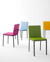 Silla Ole - Silla Ole, Silla para cocina, salón o contract con asiento y respaldo tapizado. Base metálica lacada en epoxy.