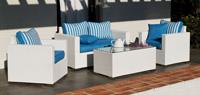 Set de sof� de exterior 2 plazas y sillones, mesa, cojines modelo Fesan