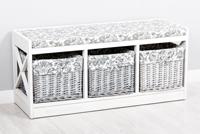Banco con 3 cestas  Limoges - Banco con cestas  Limoges fabricado en madera de Paulownia
