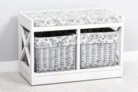 Banco con 2 cestas  Limoges - Banco con 2 cestas  Limoges fabricado en madera de Paulownia