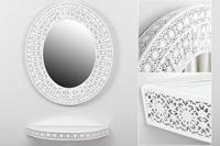 Set ovalado de consola y espejo Dubai - Set ovalado de consola y espejo Dubai fabricado en Metal