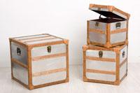 Set 3 Baules de madera y aluminio - SET 3 BAULES MADERA MDF/ALUMINIO