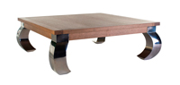 Mesa de centro cueadrada en roble y acero OPIUN - Mesa de centro rectangura en roble y acero