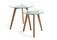 Set de mesas auxiliares Brick - Set de mesas auxiliares Brick, tope de cristal templado