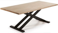 Mesa en madera de acacia maciza en acabado natural blanqueado 4 - Pies en metal pintado envejecido