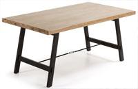 Mesa en madera de acacia maciza en acabado natural blanqueado 3 - Pies en metal pintado envejecido