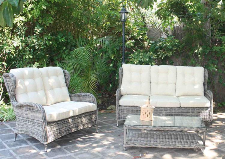 Mia home set de sof para exterior en rattan tulipa for Sofa exterior rattan sintetico