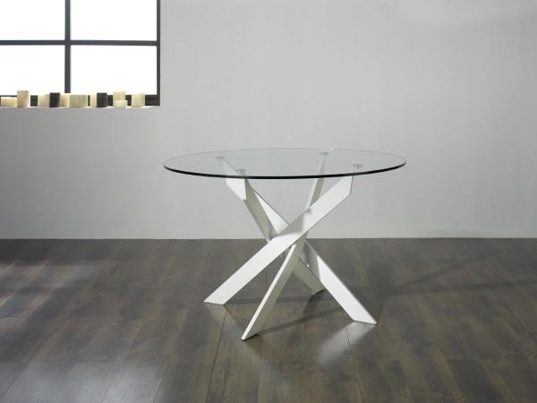 Mesa de cristal redonda mesas de comedor muebles de for Mesas de comedor redondas de cristal