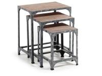 Set de 3 mesas de centro de madera