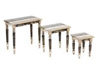 Set de 3 mesas tipo nido - Set de 3 mesas tipo nido en madera de mindi