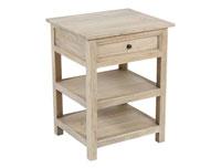 Mesa 1C SP - Mesa con 1 cajones y 2 estantes en madera de mindi