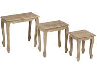Set de 3 mesas tipo nido sp - Set de 3 mesas tipo nido en madera de mindi