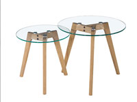Set 2 mesas roble y cristal - Set 2 mesas roble y cristal, fabricado en roble y cristal