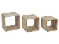 Set de 3 cubos madera - Set de 3 cubos madera fabricado en madera de mindi