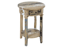 Pedestal redondo decapado - Pedestal redondo decapado fabricado en madera de mindi