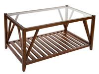 Mesa centro rectangular con cristal - Mesa centro con cristal fabricado en  madera de acacia