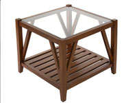 Mesa centro con cristal - Mesa centro con cristal fabricado en madera de acacia