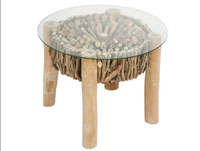 Mesa auxiliar Deco redonda - Mesa auxiliar Deco redonda, fabricado en hierro y madera madera de abeto