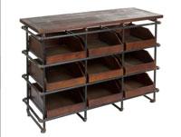Estantería con 9 cajones - Estantería con 9 cajones, fabricado en hierro y madera madera de abeto