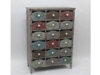 Cómoda de madera y metal 18 cajones - Cómoda 18 cajones, fabricada en madera y metal acabado vintage