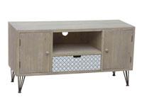 Mueble para televisión - Mueble para televisión, fabricado en madera de abeto y mdf en madera de color natural con estilo industrial