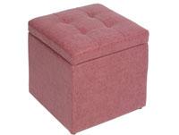 Puff retro coral vintage - Puff retro coral vintage, fabricada en polipiel estructura de madera