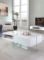 Mesa de centro 1007 - Mesa de centro  baja, cristal, lacada blanca 120x60 cms