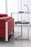 Mesa de centro 106 - Mesa 106, baja, acero inoxidable, cristal, 45 cms