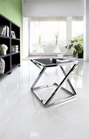 Mesa de centro 208 - Mesa 208, baja, acero inoxidable, cristal, 60x60 cms