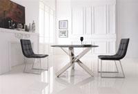 Mesa de cristal y acero Inox 627 - Mesa 627, acero inoxidable, cristal, 120 cms diámetro