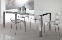 Mesa comedor extensible de cristal templado extra-blanco - Disponible con estructura cromada o lacada en blanco