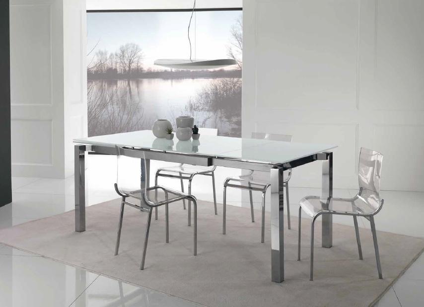 Mesa rectangular extensible de cristal templado extra blanco for Sillas cocina transparentes